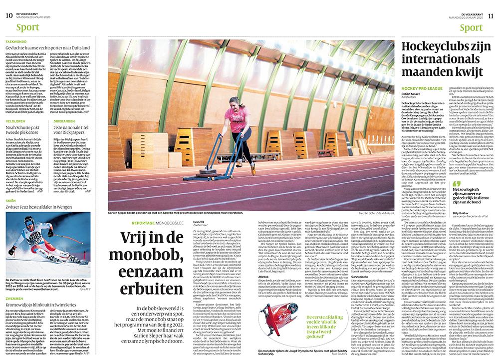 Interview Karlien Sleper in de Volkskrant