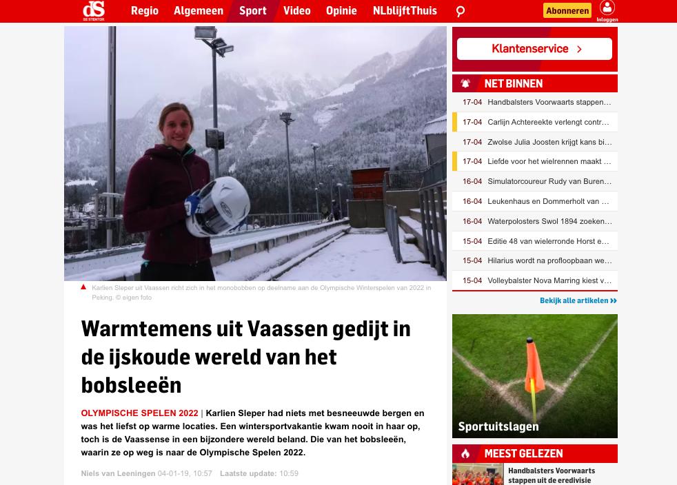 Karlien Sleper De Stentor Januari 2019